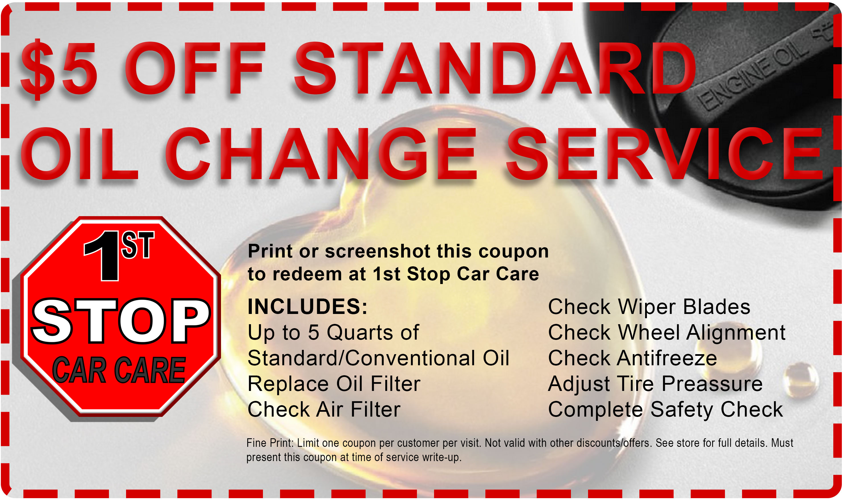 1st Stop Car Care Oil Change Coupon 1st Stop Car Care