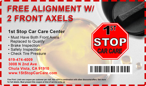 free alignment Car Care Coupons 1st stop car care chula vista