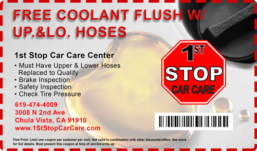 free coolant flush Car Care Coupons 1st stop car care chula vista
