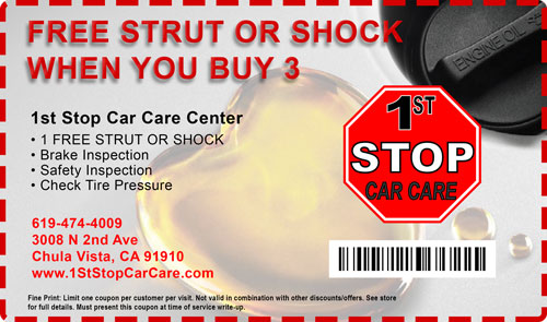 free strut or shock Car Care Coupons 1st stop car care chula vista